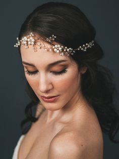 Bridal Halo Headpiece | CASSIOPEIA HAIR WREATH | Davie & Chiyo