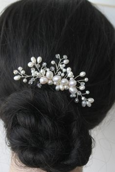 Freshwater Pearl White Pearl Floral Bridal Hair Piece by annapanik, $30.00