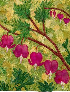 Bleeding Hearts by Kirsten's Fabric Art, via Flickr