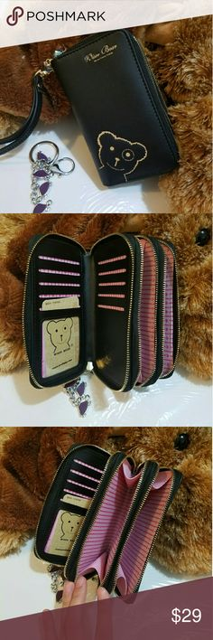"""""""Wiser Bear"""" Phone Wrist Wallet (Black) 2017 Fashion Women Wrist Wallet ??Cute Bear Lady Handbag Clutch Zipper ??Multifunction Coin Purse ??Universal Phone Case Cover For iPhone 7 6S Samsung Galaxy S7 S6 Edge   ??Description Ingredient: High Quality PU Leather Size: 15 cm x 9.6 cm x 4.5 cm  (L x W x H) Note: Cellphones below 5.5 Inch  Structure: 3 Zipper Pockets 9 Credit Card Slots 1 Photo Frame Package Include: 1 x wallet    1 x Strap Wiser Bear  Bags Clutches & Wristlets"""