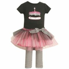 Bonnie Jean Birthday Cake Tutu Tunic & Striped Leggings Set - Baby