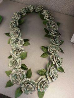 100 dollar graduation lei of rose flowers: – redpapoa Money Lei, Money Rose, Money Origami, Origami Paper, Graduation Leis, Great Graduation Gifts, Grad Gifts, Graduation Flowers, Money Lay For Graduation