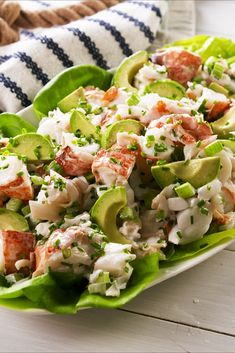 Lobster Salad Lobster rolls make for an epic summer meal but the truth is you dont really need the split top hot dog buns Or melted butter Lightly dressed with mayo and f. Lobster Recipes, Fish Recipes, Seafood Recipes, Dinner Recipes, Cooking Recipes, Healthy Recipes, Sea Food Salad Recipes, Lobster Salad, Seafood Salad