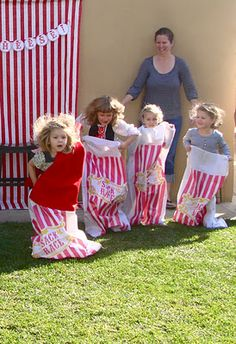 Sack race to grandmas house for a Little Red Riding Hood party.  From Oh Sugar Events.