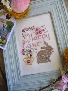 """""""Easter Bunny""""• this free design is lovely to stitch and looks good when completed."""