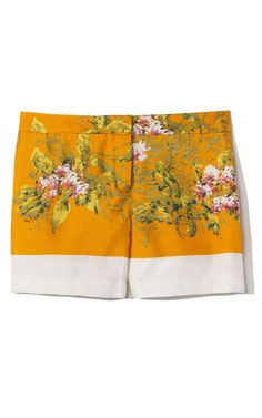 orange floral silk shorts