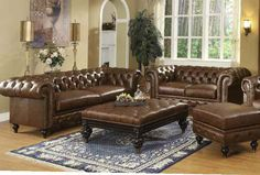 Shop Acme Furniture Shantoria Dark Brown Living Room Set with great price, The Classy Home Furniture has the best selection of to choose from Acme Furniture, Living Room Furniture, Brown Leather Furniture, Oversized Ottoman, Leather Living Room Set, Leather Loveseat, Elegant Living Room, Bonded Leather, Colorful Furniture