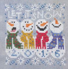 Silver Creek Samplers Let it Snow - Cross Stitch Pattern. Model stitched on 32…