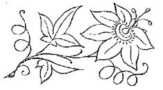 single passion flower embroidery pattern (labeled a lily, but looks like a passion flower to me)