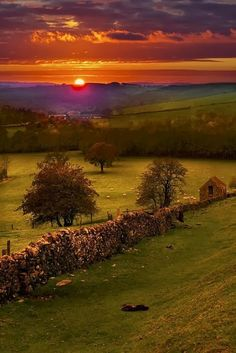 Sunset, Peak District, Derbyshire, England aka the country side where lizzie meets mr.darcy