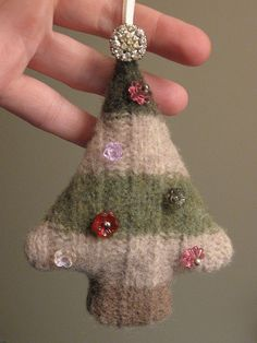 Upcycled felted wool sweater Christmas tree