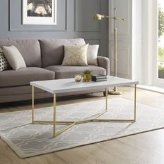 Mid Century Modern Y-Leg Coffee Table - White Faux Marble/Gold Faux Marble Coffee Table, Coffee Table Rectangle, Modern Coffee Tables, Gold Coffee Tables, Living Room Furniture, Modern Furniture, Home Decor, 42 Inch, White Marble