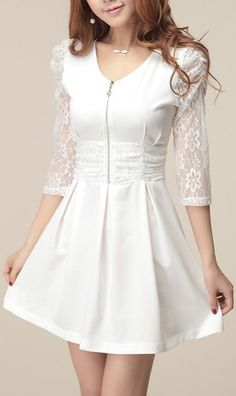 Three quarter sleeve lace-merging base dress White. cute lace dress and it's on sale