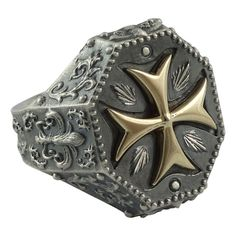 4e3c8ccff62 Biker Prata Ouro 10 K Cruz De Malta Cavaleiros Templários Masculino Anel  Maçônico Tamanhos dos EUA