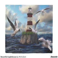Duvet cover featuring seagulls flying around a wave washed lighthouse