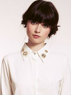 Dahlia Alice White Blouse with Diamante Star Embellished Collar | Dahlia