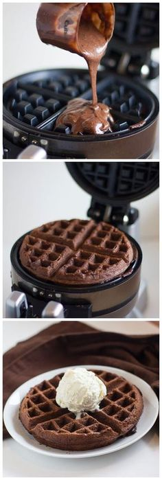 Cake Mix Waffles: Make cake mix as directed on box pour into waffle iron add ice cream!.