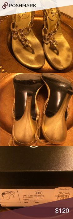 CHANEL Shoes Gold heels sandals dress up or down slight discolor but not at all noticeable all real leather very comfortable CHANEL Shoes Heels