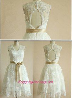 short ivory lace dress   Ivory lace dress, short lace bridesmaid dress, prom dress, wedding ...