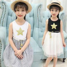 9254e0d64 Adolescentes muchachas de Los Niños ropa de verano chaleco Sin Mangas  vestido de Bola de princesa tutu dress vestidos para niñas de 5-12 años 32