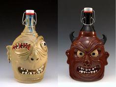 Custom Mader Ceramic Beer Growlers