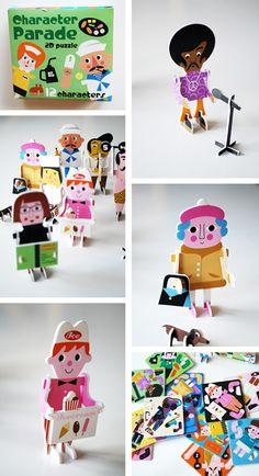 Ingela P. Arrhenius retro children's kids design illustration 2D Pop Up Puzzle Art Toys