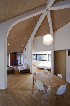 Stunning Modern Interior Design Ideas: Japanese Style: Breathtaking Japanese Interior Design Ideas Home With A Modern Touch Feats White Wooden Beams And Dining Table Combining Chair Also Sofa And Bed Also Chandelier And Wooden Floor ~ fharriman.com Architecture Inspiration