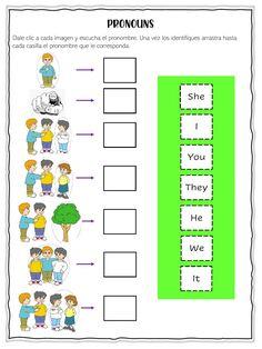 Ejercicio de Subjects Pronouns English Activities For Kids, English Grammar For Kids, English Vocabulary, English Class, Worksheets For Grade 3, Pronoun Worksheets, Pronoun Activities, Preschool Activities, Object Pronouns