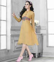 Buy Golden  embroidered kurti kurtas-and-kurti online