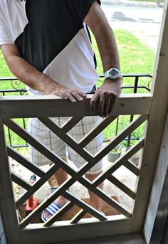 "A nice screen door really adds to curb appeal. This ""Chippendale"" wood screen door tutorial can help you build your own for a fraction of the cost of new! Woodworking Patterns, Woodworking Jigs, Woodworking Furniture, Diy Furniture, Woodworking Projects, Woodworking Classes, Youtube Woodworking, Intarsia Woodworking, Woodworking Techniques"