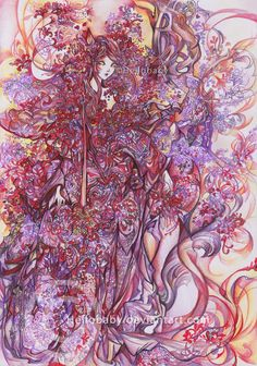 Colour Pencils work - Red Spider Lilies Fox Lady by Hellobaby.deviantart.com on @DeviantArt