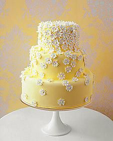 Yellow wedding cake with white floral detail with chocolate on the inside. :p for me anyway