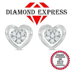 Natural Diamond Accent Heart Stud Earrings in 10k Gold Finish. Starting at $95