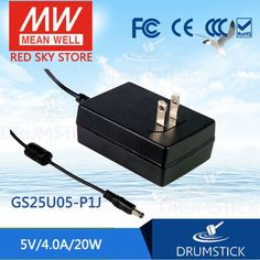 (74.17$)  Watch now - http://aibif.worlditems.win/all/product.php?id=32802965815 - Redsky [free-delivery 5Pcs] Selling Hot! MEAN WELL original GS25U05-P1J 5V 4A meanwell GS25U05 5V 20W AC-DC Industrial Adaptor