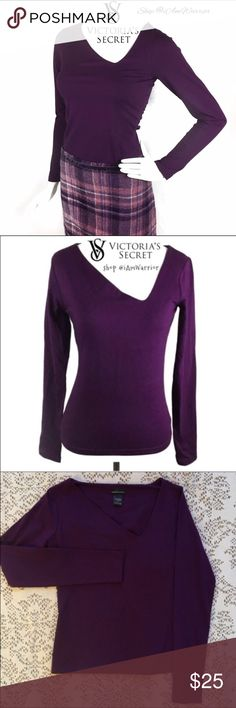 🆕Victoria's Secret asymmetrical purple fitted top 🆕NWOT Figure flattering long sleeve purple top with sexy asymmetrical neckline, brand Moda International purchased through Victoria's Secret catalogue. Rich deep purple color, has shelf bra lining. Top sized small but fits more like an xs. ❗Please read my recently updated 'about me and my closet' listing for pricing/policies. Victoria's Secret Tops Tees - Long Sleeve