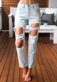 Women Jeans Skinny Ripped Jeans Stretch Distressed Pants Boyfriend Trousers - Light Blue US 17 Como Romper Jeans, Casual Outfits, Cute Outfits, Fashion Outfits, Jeans Fashion, Fashion Fashion, Fashion Trends, Jean Sexy, Looks Style