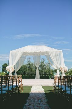 Outdoor Ceremony Setting -- Chuppah or Canopy -- See more of the wedding on #SMP here: http://www.StyleMePretty.com/california-weddings/2014/05/15/pink-and-gold-wedding-at-the-london-west-hollywood/ Photography: onelove-photo.com - Design: KatKeane.com -repinned from Southern California ceremony officiant https://OfficiantGuy.com #losangeles #weddings