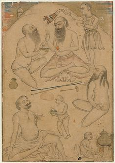 An Encampment of Yogis Date: ca. 1660 Culture: India (Deccan, Aurangabad?) Medium: Ink and opaque watercolor on paper Dimensions: 5 7/8 x 4 1/4 in. (14.9 x 10.8 cm) Classification: Paintings Credit Line: Gift of Cynthia Hazen Polsky, 1985 Accession Number: 1985.398.15
