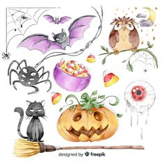 Collection of halloween cute elements in watercolor style Free Vector Halloween Clipart, Cute Halloween, Halloween Templates, Bird Barn, Barn Owls, Silhouette Cameo Free, Background Vintage, Vintage Backgrounds, Homemade Stickers