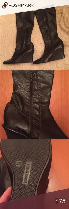 Nine West Leather Wedge Boots These boots are in excellent condition as they have only been worn twice.  They have side half zippers.  Leather upper that matches the soles.  They look great with jeans or even a dress for a fancier occasion. Nine West Shoes Heeled Boots