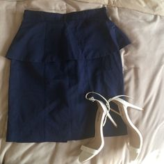 Navy Blue Peplum pencil skirt Very cute peplum navy pencil skirt! Can be worn with cute floral heels for the spring! H&M Skirts