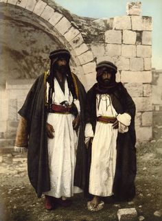 """""""Bédouins nomades de Siloé""""  These two men were caught on camera in the Palestinian village of Siloam. Now part of East Jerusalem and known as the district of Silaw village.   ca. 1895   Photographer unknown."""