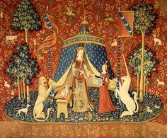 """The Lady and the Unicorn, """"To My Only Desire."""" Wool and Silk, late 15th century tapestry"""