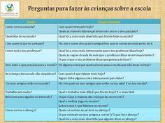 Perguntas para fazer às crianças sobre a escola