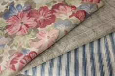 Wonderful antique French project bundle ~ lovely timeworn tones ~ ideal for many French country and cottage interior projects ~ www.textiletrunk.com