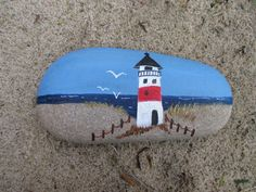 "Dekostein ""Lighthouse on the beach"" - Dekostein ""Leuchtturm am Strand"" Art Painting Tools, Pebble Painting, Acrylic Painting Canvas, Pebble Art, Stone Painting, Painting Flowers, Acrylic Art, Rock Painting Patterns, Rock Painting Ideas Easy"