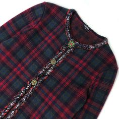 Rare Chanel 13 A Rouge Noir Tartan Cashmere Blazer Veste Cardigan Taille FR36 US2 4 | eBay Tartan, Chanel, Blazer Jacket, Tweed, Jackets, Ebay, Black, Tops, Women