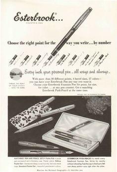 1955 Esterbrook Right Point Fountain Pen Original Vintage Print Ad