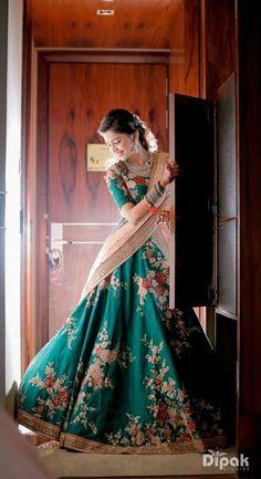 Looking for Bride in Teal Floral Lehenga for Sangeet? Browse of latest bridal photos, lehenga & jewelry designs, decor ideas, etc. on WedMeGood Gallery. Half Saree Designs, Lehenga Designs, Indian Wedding Outfits, Indian Outfits, Indian Clothes, Floral Lehenga, Lehenga Saree, Anarkali, Sabyasachi