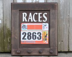 Race Bibs and Running Medals Holder Running Medals Display Rack - Races on Etsy, $40.00